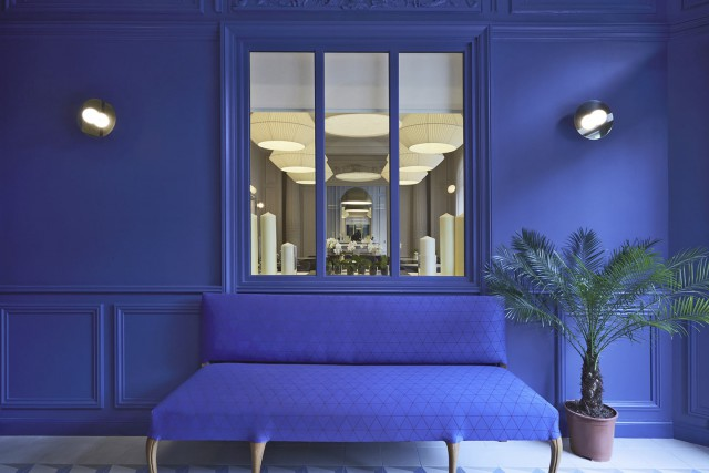 little palace hotel entrance blue sofa